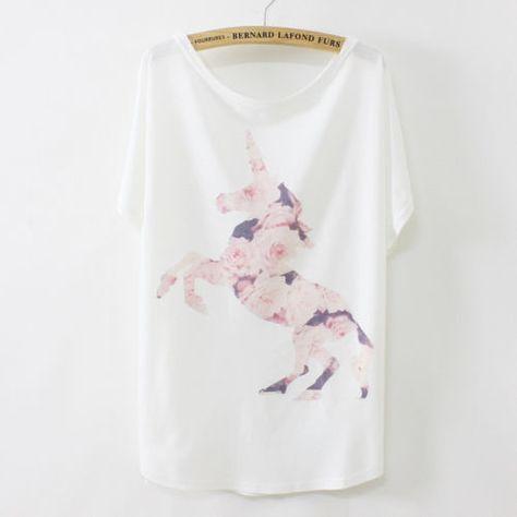 Women's Korean Unicorn T Shirt