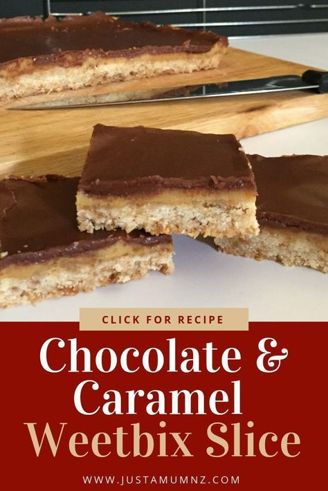 This easy and delicious Chocolate Caramel Weetbix slice is the best! With condensed milk and simple techniques you will want to make it often. One of my favourite sweet treats #baking #recipe #chocolate #caramel #weetbix #slice #best #easy