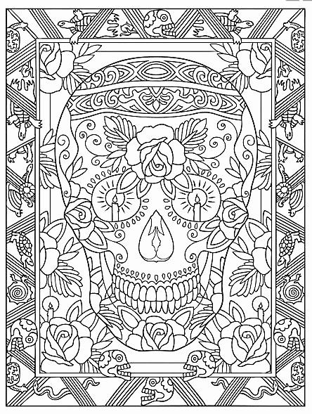 Day Of The Dead Coloring Book Lovely Creative Haven Day The Dead Coloring  Book Dover Publications Sample Pag… Skull Coloring Pages, Coloring Pages, Coloring  Books