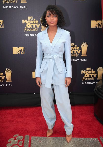 Actor Yara Shahidi attends the 2018 MTV Movie And TV Awards at Barker Hangar.