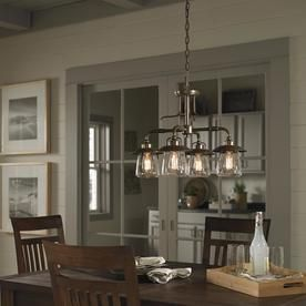 Allen Roth Bristow 4 Light Mission Bronze Traditional Chandelier Lowes Com Chandelier Lighting Farmhouse Lighting Dining Chandelier Shades