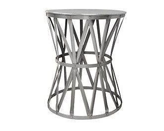 Nice Round Nickel Drum Side Table Industrial Metal Iron Bedside Silver Coffee  Stool | Drum Side Table, Industrial Metal And Industrial