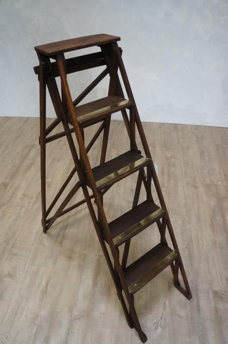 Vintage Oak Brass Folding A Frame Ladder A Frame Ladder Ladder Oak