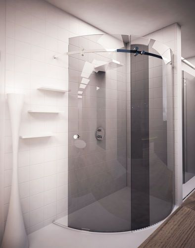 Walk In Shower Enclosure Curved Glass Stainless Steel Corner