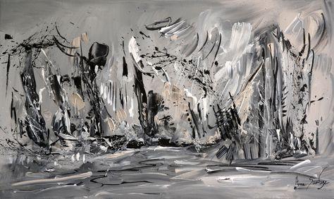 Tableau Abstrait Gris Noir Blanc Peinture Moderne