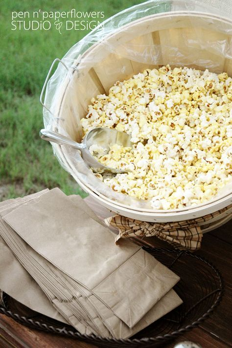 Popcorn bar from End of the Trail Waupun WI! Popcorn Bar with assorted toppings and add-ins. Could do this with fun toppings (candy corn, M etc) instead of decorate your own cookie. Outdoor Movie Party, Backyard Movie, Backyard Parties, Backyard Bonfire Party, Backyard Bar, Popcorn Bar, Popcorn Stand, Popcorn Toppings, Movie Popcorn