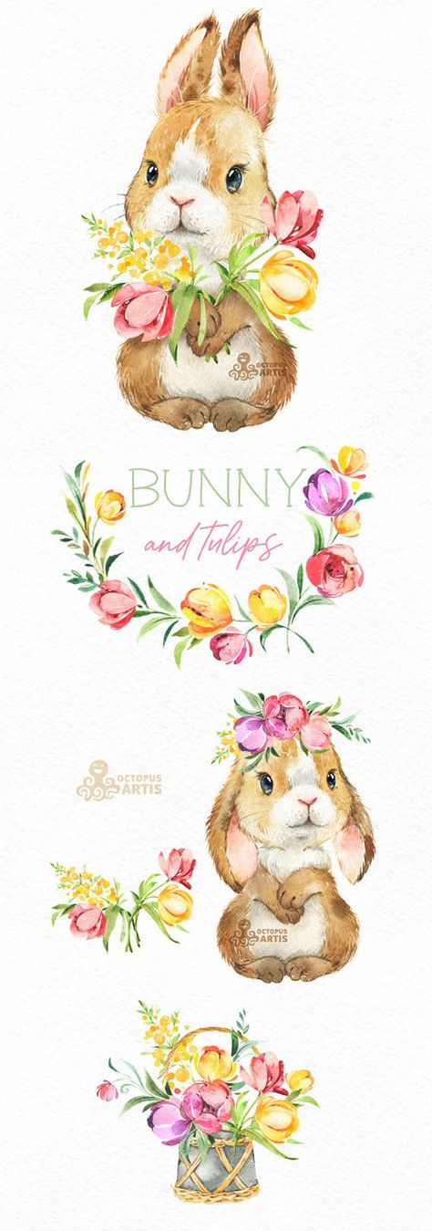 Bunny & Tulips. Watercolor little animals and floral clipart, Flowers, Easter, wreath, spring, fores