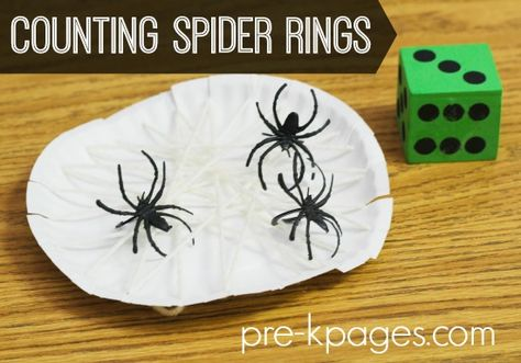 One-to-One Correspondence for Preschool and Kindergarten: Counting Spider Rings!  A fun way to practice one-to-one counting skills!