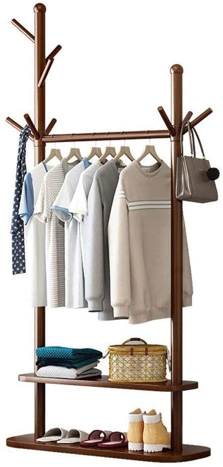 Zhouminli Household Products Modern Simplicity Solid Wood Coat Rack Stand Coat Tree Hallway Shoe Rack Wi Standing Coat Rack Shoe Rack With Shelf Wood Coat Rack