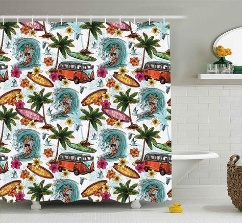 Ocean Decor Shower Curtain By Ambesonne Hawaiian Decor Surfer On