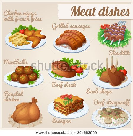 Set Of Food Icons Meat Dishes Chicken Wings With French Fries Grilled Sausages Shashlik Meatballs Beef Steak La Meat Dishes Food Clipart Grilled Sausage