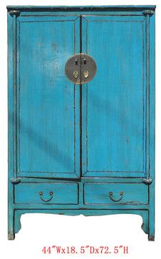 Chinese Antique Blue Lacquer Moon Face Gold Armoire Storage Cabinet  Contemporary Dressers Chests And Bedroom Armoires