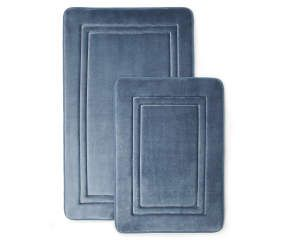 Just Home Blue Embossed Memory Foam Bath Rug Set 2 Pack With