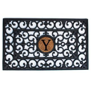 Rubber Monogrammed Doormat 1 6 X 2 6 Letter Q Black Momentum Mats Coir Rubber Door Mat Mold Mildew Monogram Initials