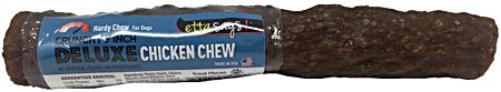 ETTA SAYSDELUXE CHICKEN CHEW6-7 inch sizeIngredients:Potato Starch, Chicken, Glycerin, Dried Molasses, Dried Tapioca Syrup, Cellulose, Cultured Skim Milk, Gelatin, Natural Chicken Flavor, Egg, Natural Smoke Flavor, Tocopherol (as a preservative)GUARANTEED ANALYSISCrude Protein...Min...5%Crude Fat...Min...1%Crude Fiber...Min...2%Moisture...Min...18%CALORIE CONTENT (ME Calculated)3,093kcal/kg 219 Kcal/ChewWEIGHT: 2.4oz