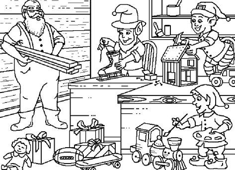 Santa S Workshop Coloring Pages Santa Coloring Pages Santas