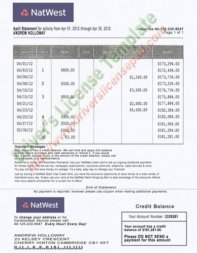 sample bank statements template