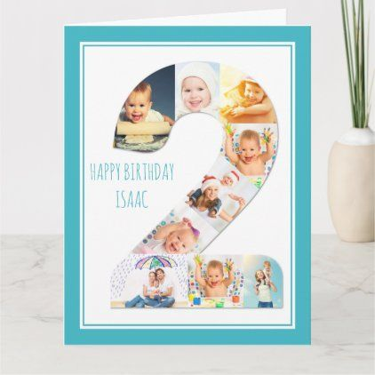 Photo Collage Number 2 Boy S 2nd Birthday Card Zazzle Com Birthday Collage Birthday Cards For Boys Photo Collage