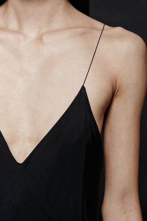 Delicate black silk cami with barely there thin straps