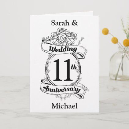 Romantic Roses 11th Eleventh Wedding Anniversary Card Zazzle Com Wedding Anniversary Cards 19th Wedding Anniversary 18th Wedding Anniversary