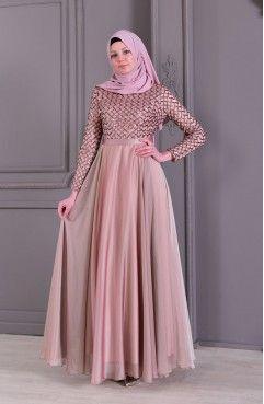 Sefamerve Payetli Abiye Elbise 8127 05 Gul Kurusu Elbise Elbise Modelleri Giyim