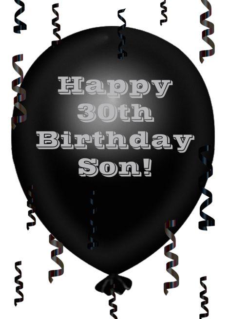 Happy 30th Birthday Son Black Balloon Streamers Card Ad Spon Birthday Son Happy Streamers Happy 30th Birthday Black Balloons 30th Birthday