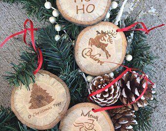 Wood Slice Christmas Ornaments Set Of 5 Christmas Ornaments Etsy Rustic Christmas Tree Christmas Ornaments Rustic Christmas