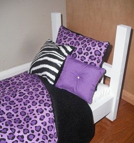 4 Piece Bedding set   fits 18 inch  doll bed  Purple Leopard  American made