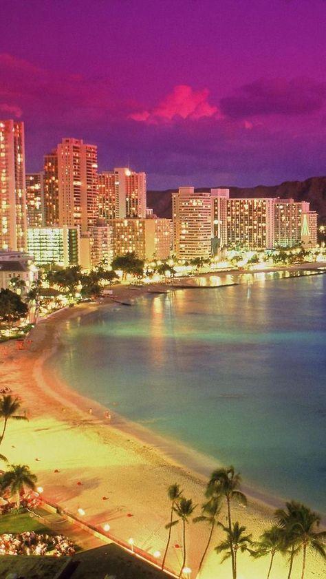 Waikiki Beach, Oahu, Hawaii, Coastline, Dusk, United States,