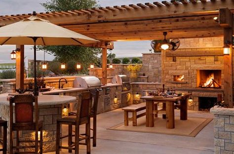 outdoor kitchen, fireplace  covered patio