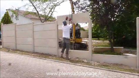 Demo De Pose Cloture Plaques Beton Plaque Beton Cloture En Beton Pose Cloture