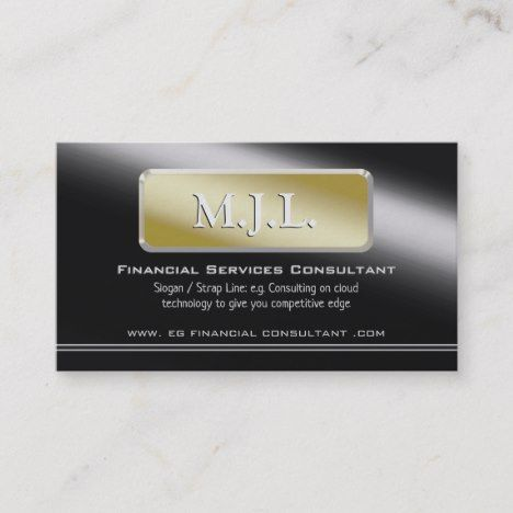 Gold Nameplate Financial Services Consultant Business Card | Zazzle.com