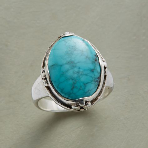 ART OF TURQUOISE RING -- Framed in detailed sterling, turquoise steals the show on this sterling silver ring. Whole and half sizes 5 to