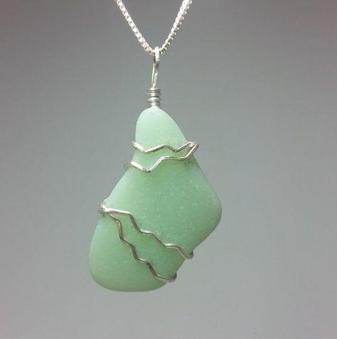 Sea Glass Pendant. Jadeite Sea Glass by ElaSeaGlassJewelry on Etsy