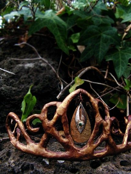 Earthy faerie crown, masking tape over a wire base, then painted.....