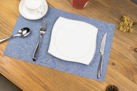 PVC Dining Placemat Table Mats Vinyl Reversible Kitchen Insulation Tableware Mat