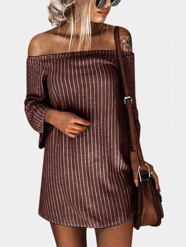 627f727b55f2 Black Off Shoulder Stripe Pattern Flouncy Details Dress - US 11.95 ...