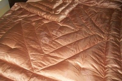 Vintage Hollywood Glam Golden Coppery Color GOOSE Down Satin Comforter
