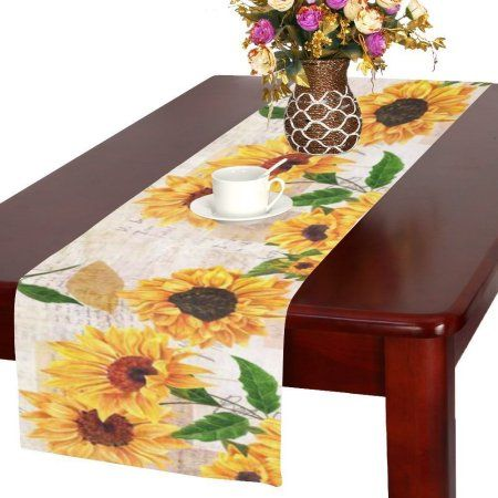 Mypop Sunflowers Table Runner Placemat 16x72 Inches Sunny Floral Table Linen Cloth For Office Kitchen Dining Wedding Party Home Decor Walmart Com In 2021 Paisley Table Runner Decor Home Decor