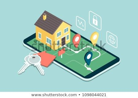 Find Your Dream Home Model House On A Map House Keys And Icons