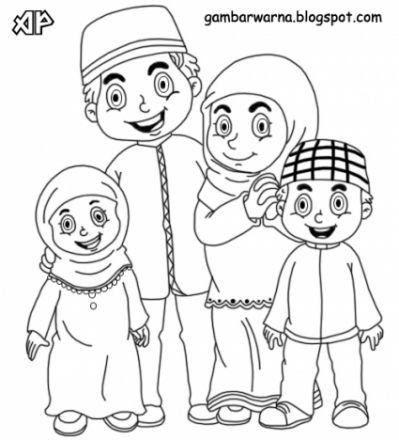 15 Gambar Kartun Family Muslim Buku Mewarnai Kartun Warna