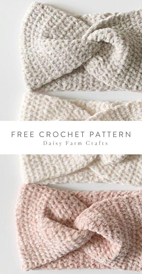Free Crochet Pattern - Easy Velvet Twist Headband - - Simple beginner friendly, easy to read crochet pattern, for a velvet twist headband. Crochet Patterns For Beginners, Easy Crochet Patterns, Knitting Patterns, Crocheting Patterns, Free Crochet Headband Patterns, Knit Headband Pattern, Beanie Pattern, Easy Knitting, Crochet Ideas
