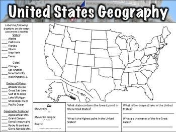 Us And Canada Map Label And Questions Worksheet Pin on Mfw  adventures of u.s history