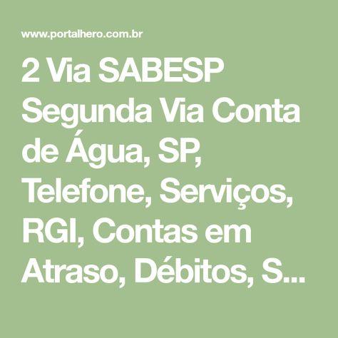 2 Via Sabesp Conta De Agua Sp Telefone Contas De Agua Contas Agua