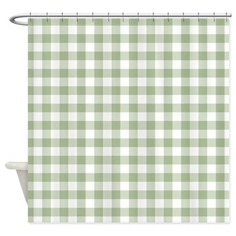Sage Green Gingham Checked Pattern Shower Curtain Ad Affiliate