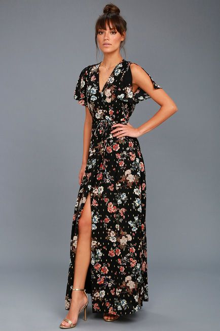 62b17e35d18 Divine Days Black Floral Print Wrap Maxi Dress