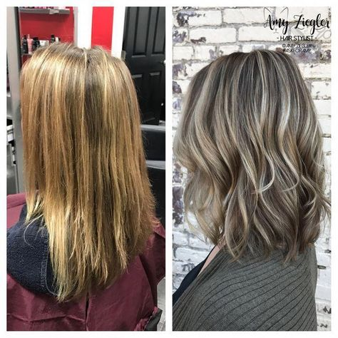 Image result for ash blonde highlights and ash brown lowlights #grayhaircolors