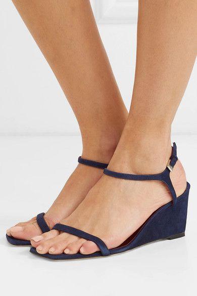 STAUD   Astrid suede wedge sandals   NET A PORTER.COM