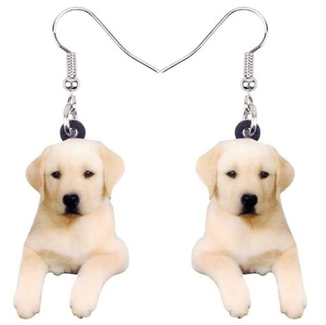 Labrador Retriever Lab Puppy Dog Acrylic Print Dangle Hook Earrings Ginger Lyne Collection