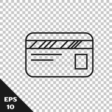 Black Line Credit Card Icon Isolated On Transparent Background